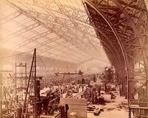 Galerie des machines - Image: Interior of Gallery of Machines, showing machines being set up, Paris Exposition, 1889