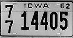 Iowa 1962 license plate - Number 77 14405.jpg