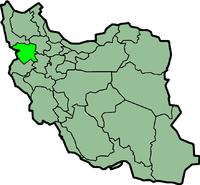 Map of Iran with कूर्दिस्तान highlighted.