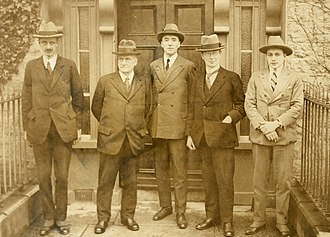 Irish Boundary Commission - Irish Boundary Commission's first sitting in Ireland. Irish Independent, Thursday, 11 December 1924. Second from left, Mr. J. R. Fisher; center: Mr. Justice Feetham; second from right, Dr. Eoin MacNeill.