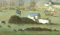 Island Battery, Siege of Louisbourg 1745 (inset) by Peter Monamy.png
