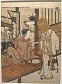 Isoda koryusai, monaco mendicante con due donne, XVIII sec.JPG