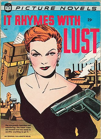 "Graphic novel - The digest-sized ""picture novel"" It Rhymes with Lust (1950), one precursor of the graphic novel. Cover art by Matt Baker and Ray Osrin."
