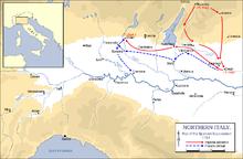 Cartina rappresentante le dinamiche della Battaglia di Chiari