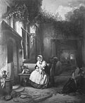 A Woman Knitting in a Courtyard