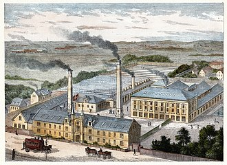 Falkoner Allé - An illustration from Illustreret Tidende showing the Ruben Textile Factory in 1879