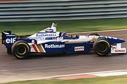 Jacques Villeneuve driving the Williams FW18 at the 1996 Canadian Grand Prix. The Canadian qualified in 2nd for the race and finished second, finishing behind his team mate, Damon Hill