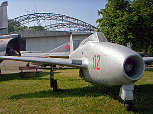 Polish Aviation Museum - Yak-17UTI in front of the Polish Aviation Museum