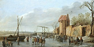 Ice hockey - A winter scene by Jan van Goyen from the 16th century