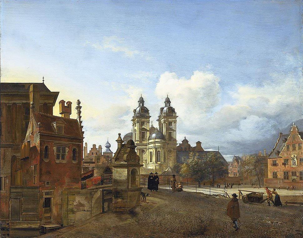 Jan van der Heyden and Adriaen van de Velde - View of D%C3%BCsseldorf with the church of St. Andrew in the centre