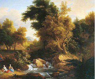 Jan van der Vaardt - Wooded landscape with trees and figures