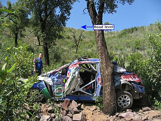Jari-Matti Latvala - Latvala's Ford Focus after crashing out of the 2009 Rally de Portugal on SS4.