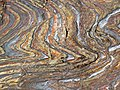 Jaspilite banded iron formation (Soudan Iron-Formation, Neoarchean, ~2.69 Ga; Stuntz Bay Road outcrop, Soudan Underground State Park, Soudan, Minnesota, USA) 12 (19224976785).jpg