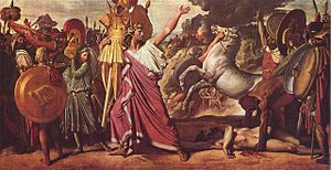 Constitution of the Roman Kingdom - Romulus, Victor over Acron, hauls the rich booty to the temple of Jupiter, by Jean Auguste Dominique Ingres