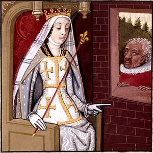 "Louis I of Hungary -  Louis's sister-in-law, Joanna I of Naples, whom he regarded as a ""husband-killer"" after the assassination of his brother, Andrew, Duke of Calabria (from a manuscript of Giovanni Boccaccio's De mulieribus claris"