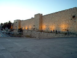 Jerusalem - Walls leading to Jaffo Gate.jpg