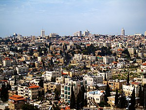 Sheikh Jarrah - Sheikh Jarrah neighborhood. In the background, the city center of Jerusalem.