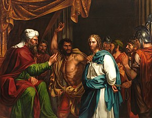 Humiliation of Christ - Jesus about to be struck in front of the High Priest Annas, during his Sanhedrin trial, depicted by Madrazo, 1803.