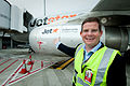 Jetstar ANZ CEO prepares to board biofuel flight at Melbourne Airport (6946693456).jpg