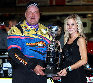 SRL Southwest Tour - Multiple champion Jim Pettit II with the 2013 Kern County race trophy.