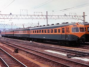 80 series - A JNR 80-0 series train at Nakatsugawa station on the Chuo Main Line in 1979