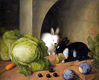 Domestic rabbit - Gemüsestilleben mit Häschen, by Johann Georg Seitz (1870)
