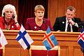 Johanna Sigurdardottir, statsminister Island, Maud Olofsson, vice statsminister Sverige, och Lars Loekke Rasmussen, statsminister Danmark. Nordiska radets session i Stockholm 2009.jpg