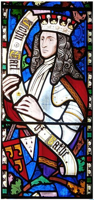 Royal Lincolnshire Regiment - John Granville, 1st Earl of Bath, founder of the regiment, portrayed in stained glass