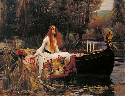 The Lady of Shalott by John William Waterhouse in the Pre-Raphaelite style John William Waterhouse - The Lady of Shalott - Google Art Project edit.jpg