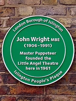 John wright mbe (1905 1991) master puppeteer founded the little angel theatre here in 1961