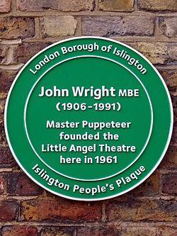 Photo of John Wright green plaque