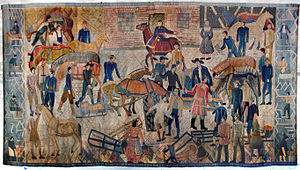 Kåre Jonsborg -  Tapestry, Lilletorget in the Town Hall of Oslo. Design by Kåre Jonsborg, woven by Else Halling 1952- 1953. Dimensions 2,5 m x 4,4 m.