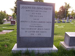 Joseph Fielding Smith - Image: Joseph Fielding Smith Grave