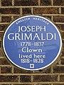 Joseph Grimaldi 1778-1837 Clown lived here 1818-1828.jpg
