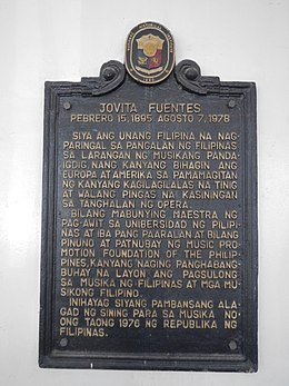 Jovita Fuentes historical marker at the UP College of Music.jpg