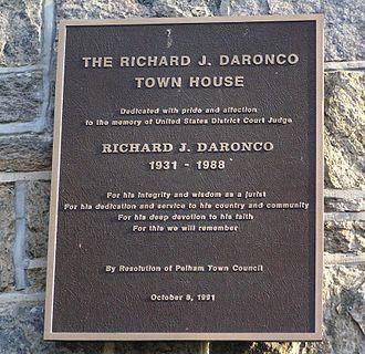 Richard J. Daronco - The memorial plaque for Judge Daronco at the Pelham Town House