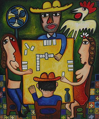 Naïve art - The Domino Players (Juego de Domino), Oil on canvas, by Cuban artist José Rodríguez Fuster.