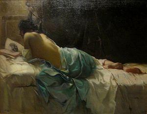 Julius Rolshoven - Nude - Model Reading a Sketch Book, oil on canvas painting by Julius Rolshoven, c. 1900, El Paso Museum of Art