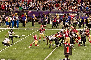 Justin Tucker - Justin Tucker attempts a field goal in Super Bowl XLVII.