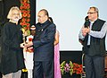 K. Sankaranarayanan for his contribution to the development of documentary movement, at the inaugural function of the 13th Mumbai International Film Festival for Documentary, Short and Animation (MIFF-2014).jpg