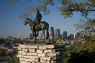 The Scout (Kansas City, Missouri statue) - The Scout overlooking downtown Kansas City.