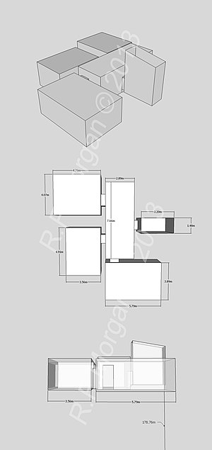 KV27 - Isometric, plan and elevation images of KV27 taken from a 3d model