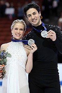 Kaitlyn Weaver and Andrew Poje at the 2019 Four Continents Championships - Awarding ceremony.jpg