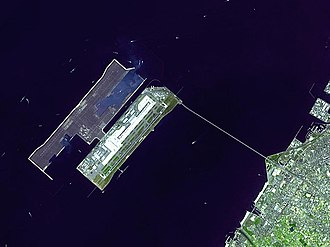 Kansai Airport is built on an artificial island in Japan. Kansai closeup.jpg