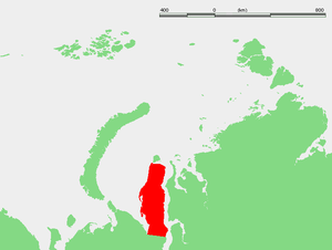 Yamal Peninsula - Map showing the location of the Yamal Peninsula.
