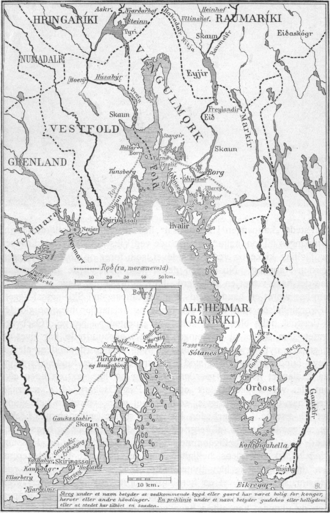 Viken, Norway - Map of Viken in the Middle Ages (1910)