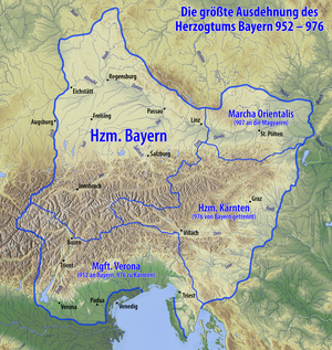 Duchy of Bavaria - Bavaria in 976, with the marches of Austria, Carinthia and Verona