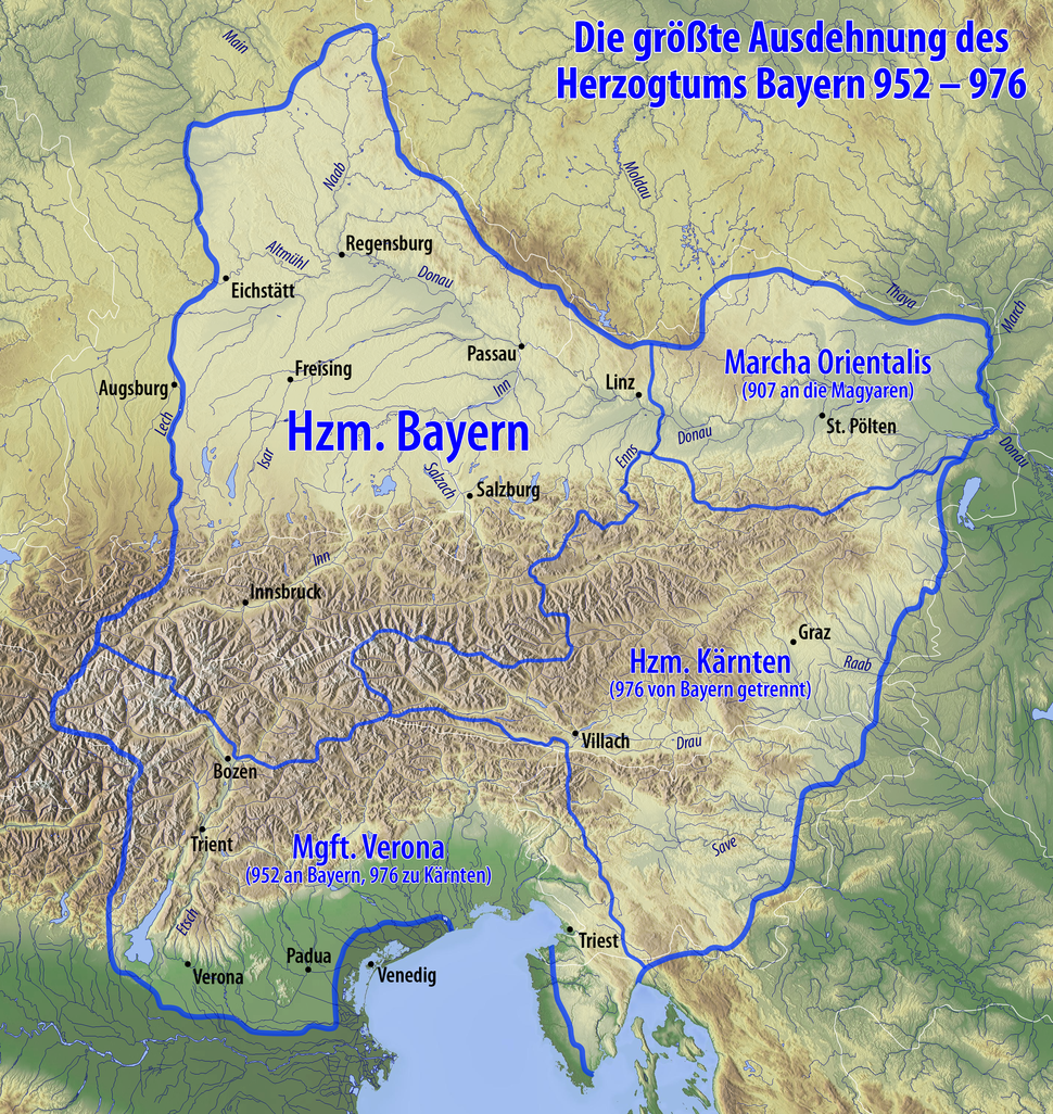 Karte Herzogtum Bayern im 10. Jahrhundert