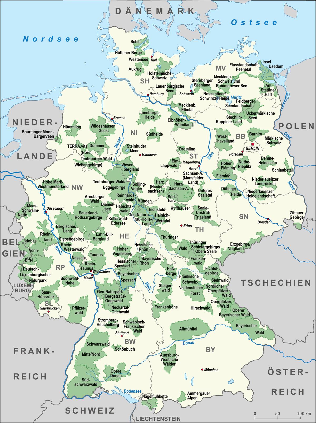 waldgebiete in deutschland karte Liste der Naturparks in Deutschland – Wikipedia