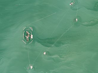 Kashagan Field - Aerial view of the field structures